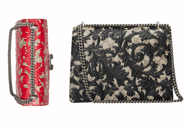 Gucci Dionysus Arabesque Shoulder Bag in Hibiscus Red & Black Embroidery