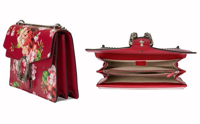 Gucci Dionysus Blooms Print Leather Shoulder Bag In Red with Chain Strap & Zipped Compartment