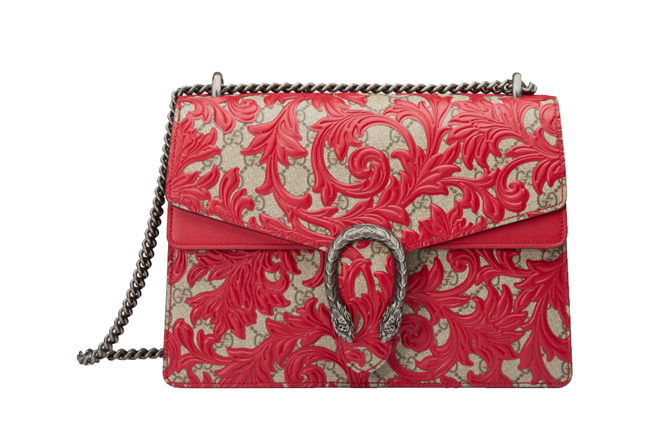 Gucci Dionysus Hibiscus Red Arabesque Shoulder Bag in GG Supreme Canvas