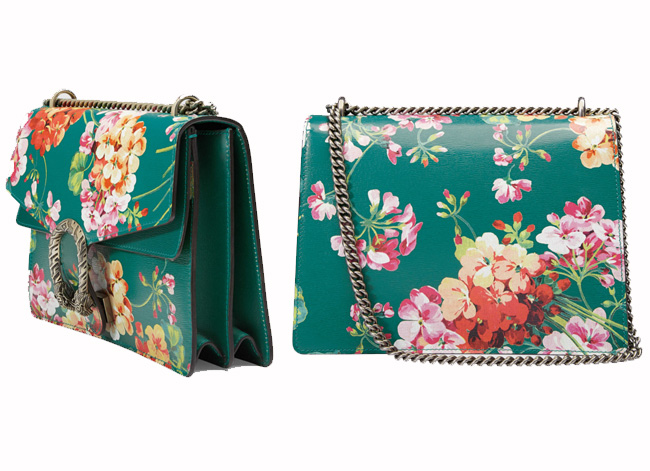 Gucci Dionysus Blooms Print Leather Shoulder Bag In Green with Tiger Head Spur