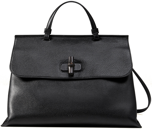 Replica Gucci Bamboo Daily Top Handle Leather Bag Black