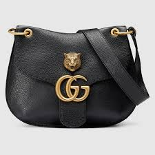 Replica Gucci Marmont GG Black Leather Shoulder Bag