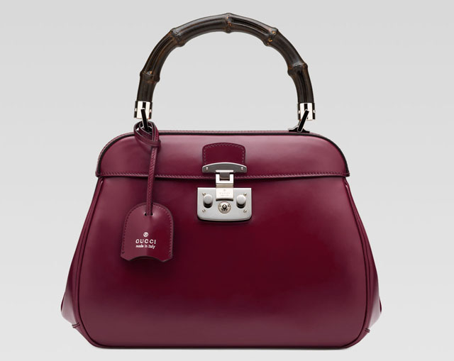 Gucci Lady Lock Top Handle Bag with Burgundy Calfskin Leather Replica Bag