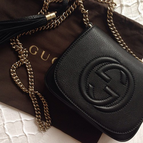 Black leather gucci soho leather chain shoulder bag replica