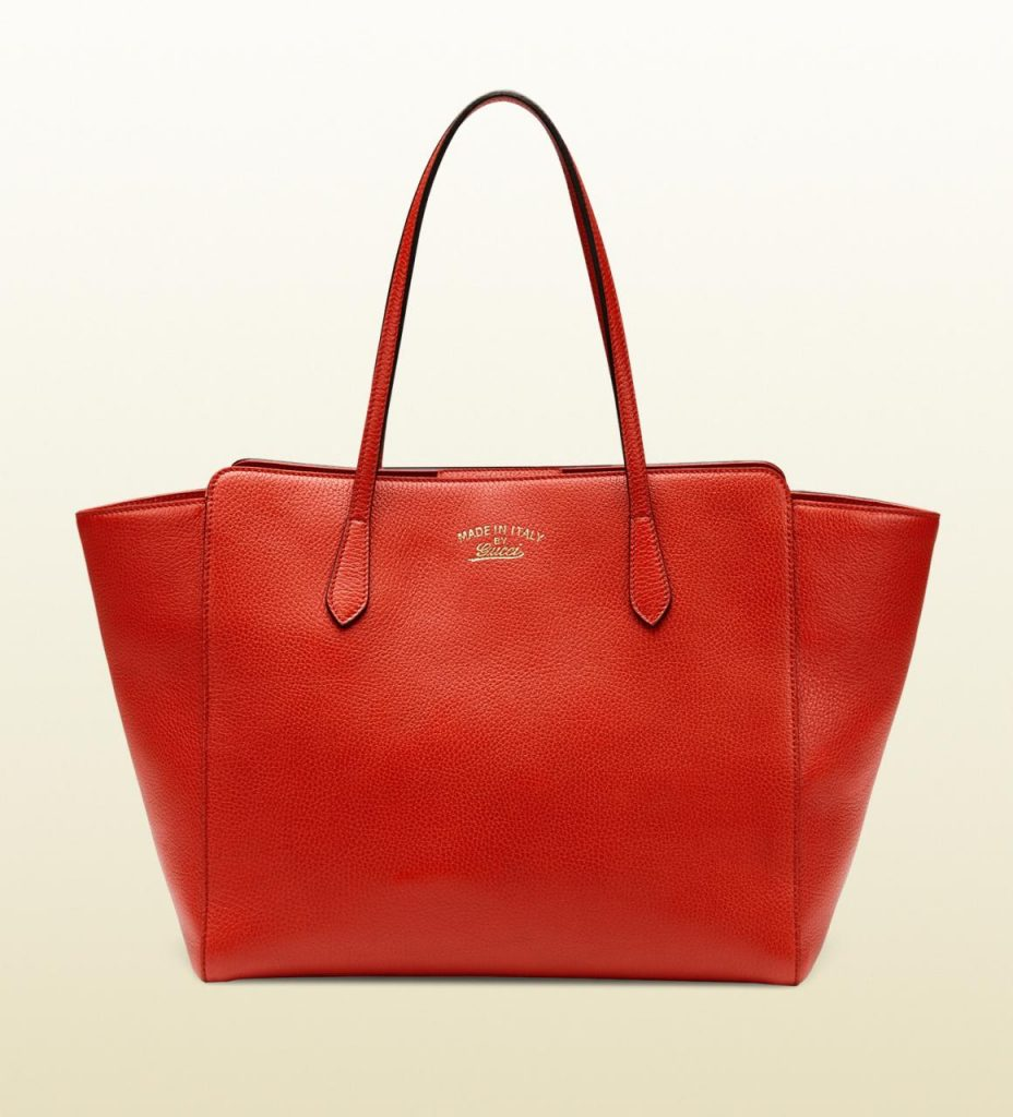 Red leahter gucci swing medium tote bag replica online sale