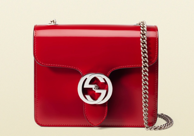 Beautiful gucci interlocking polished leather shoulder bag replica for sale