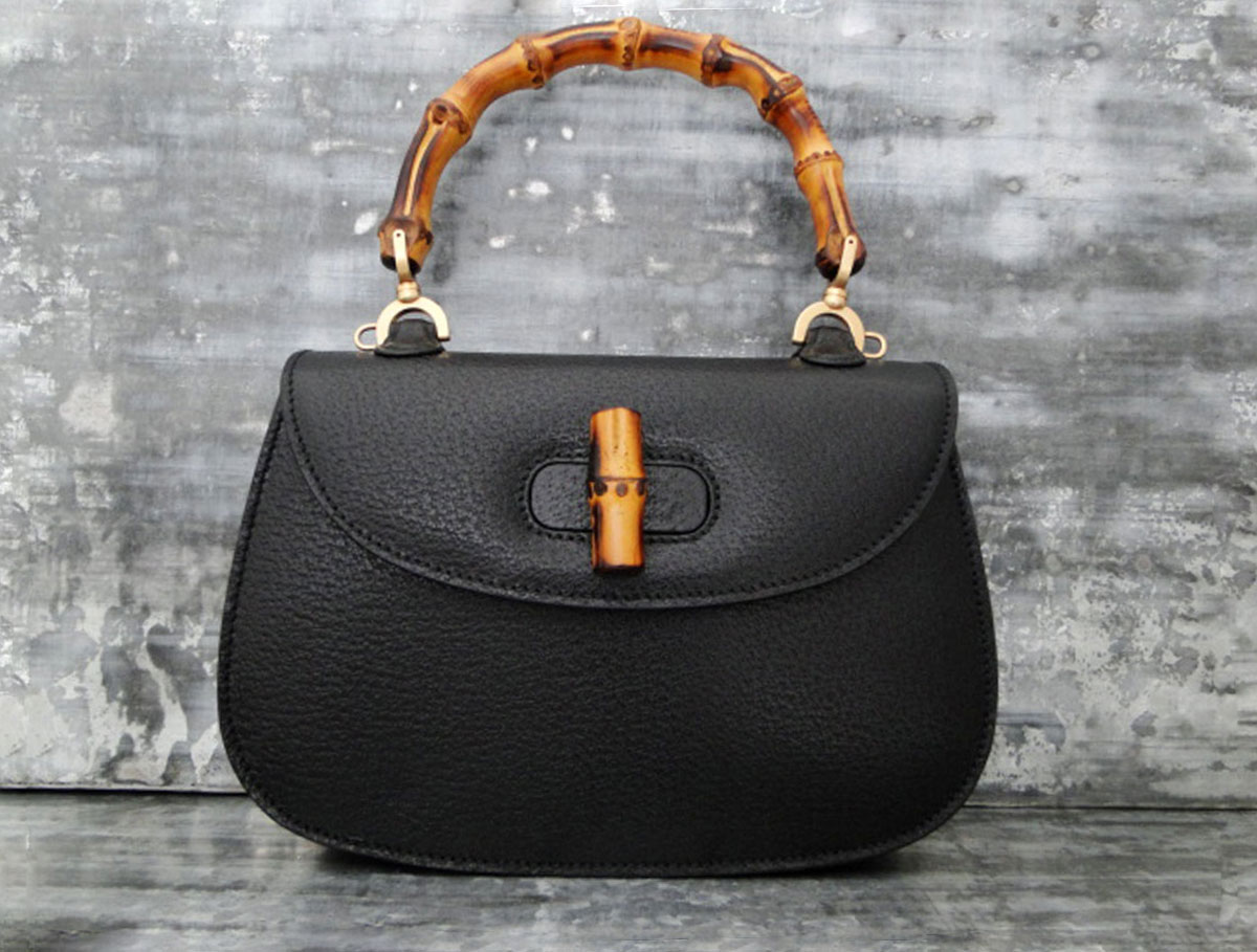 Black Gucci Bamboo Bag Replica Online For Sale