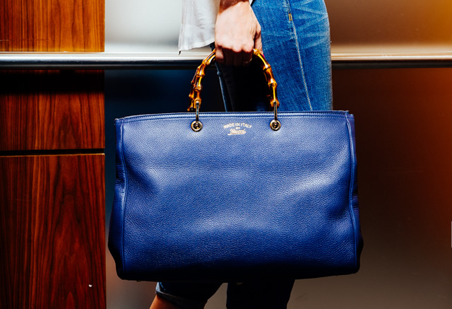 Blue gucci bamboo shopper leather tote replica online sale