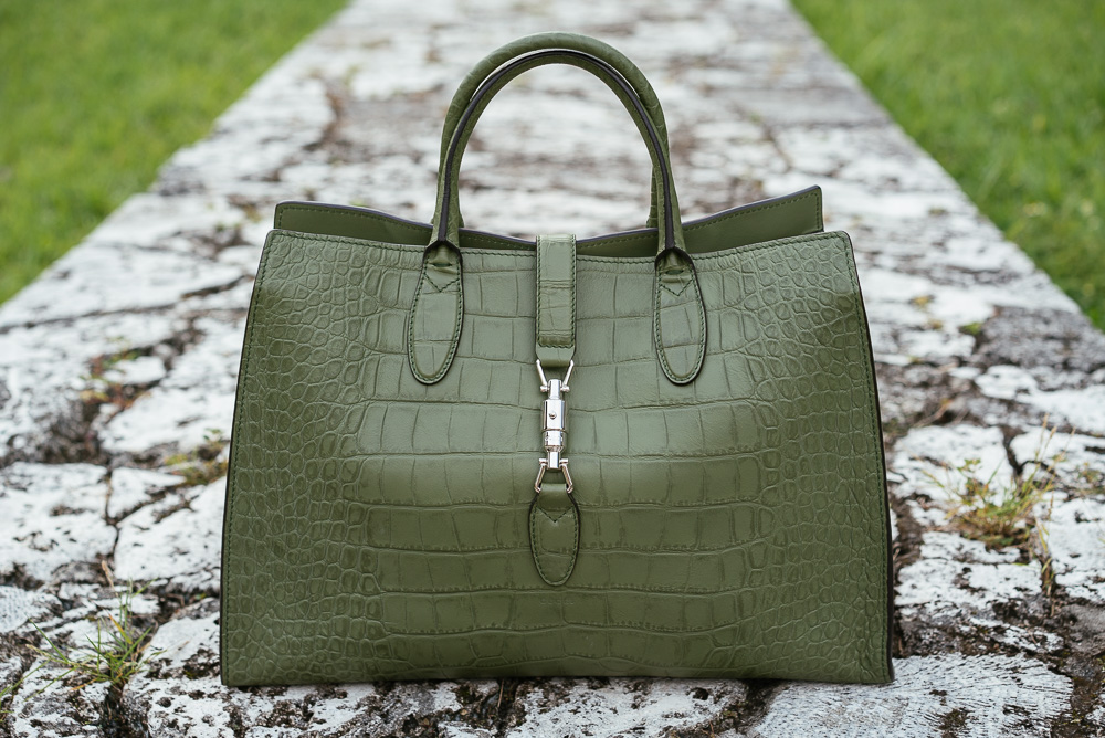 Green leather gucci jackie soft leather top handle bag replica