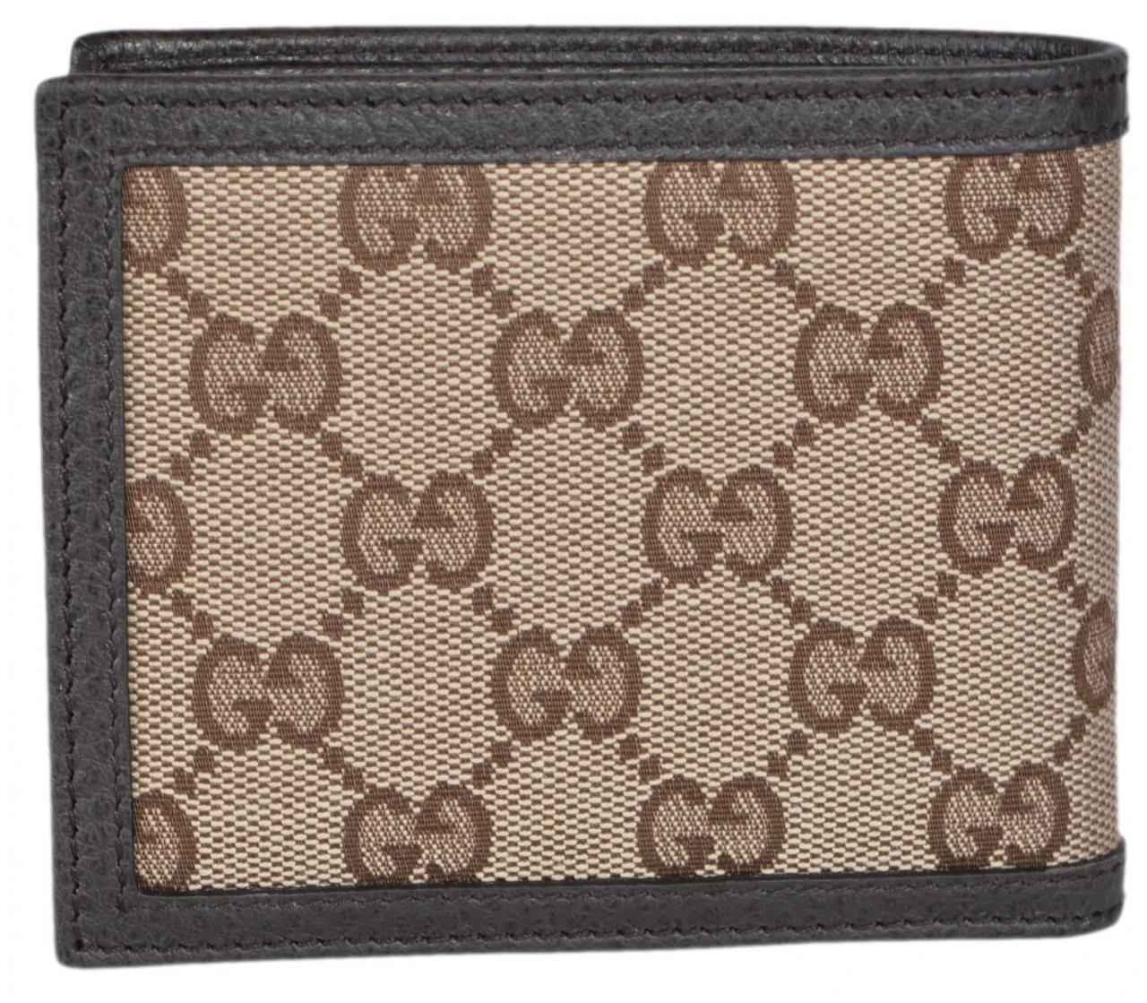 Free Shipping Replica Bags Gucci                        Brown New Men's 260987 Beige Canvas Gg Guccissima Bifold Wallet